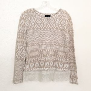 Jessica Simpson Tribal Print Sweater w Lace SMALL